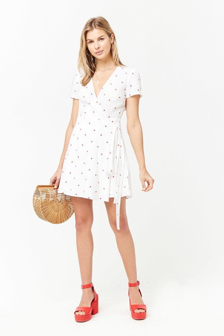 c35367dee72f Forever 21 Heart Print Surplice Wrap Dress in White - Lyst