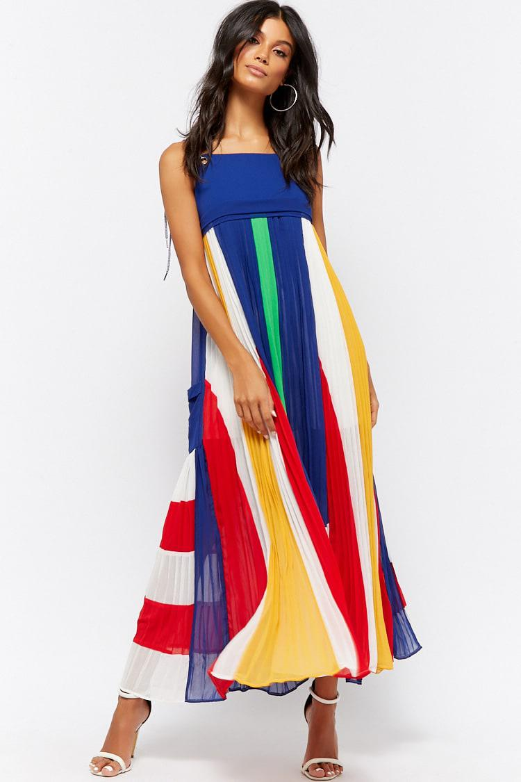 b330a2bea65 Forever 21 Colorblocked Accordion Pleat Maxi Dress in Blue - Lyst
