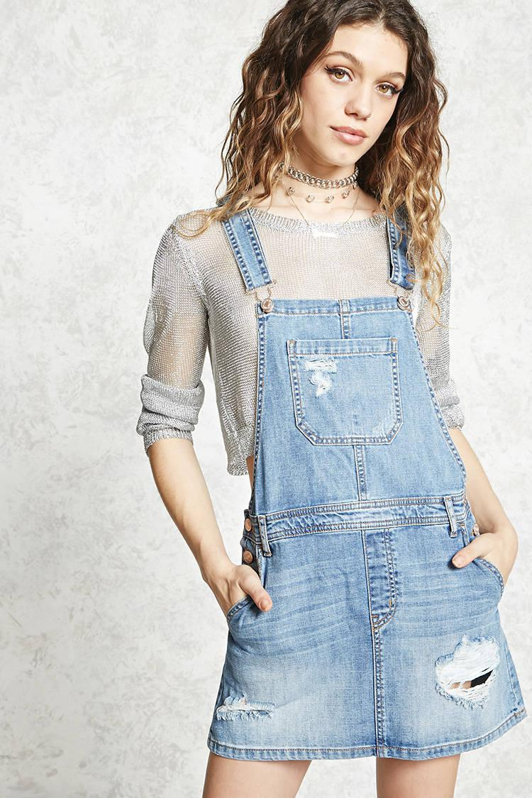 56cd98eae95 Lyst - Forever 21 Distressed Overall Mini Dress in Blue