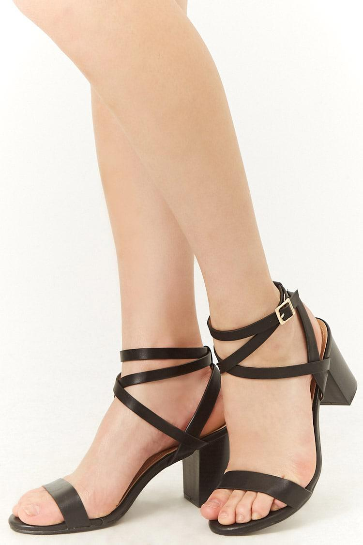 be6f8b169ff Lyst - Forever 21 Faux Leather Block Heels in Black