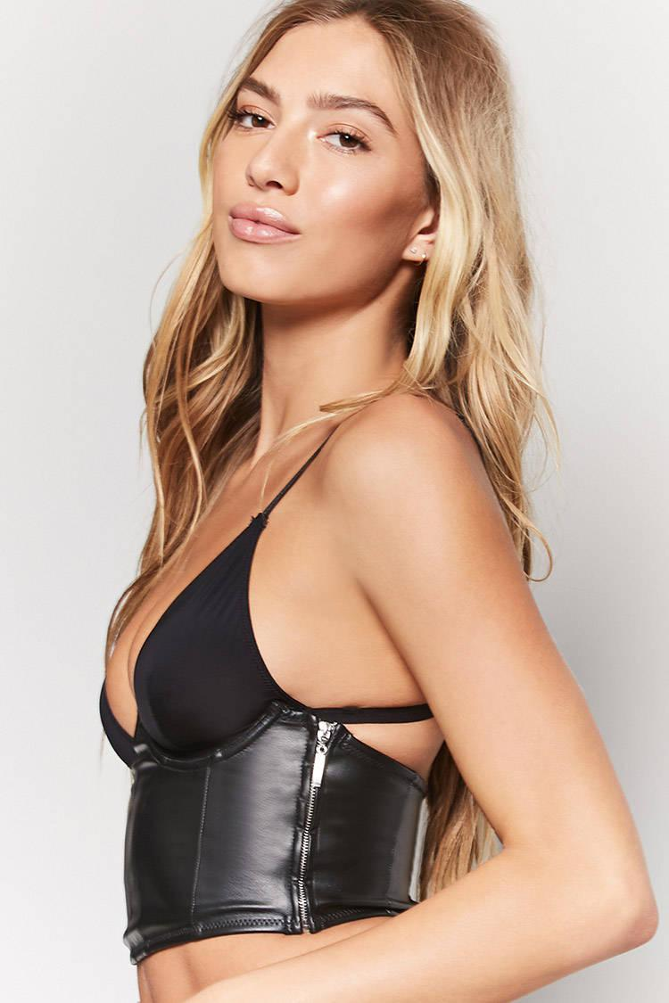 8db2209c6d7 Lyst - Forever 21 Faux Leather Lace-up Corset in Black