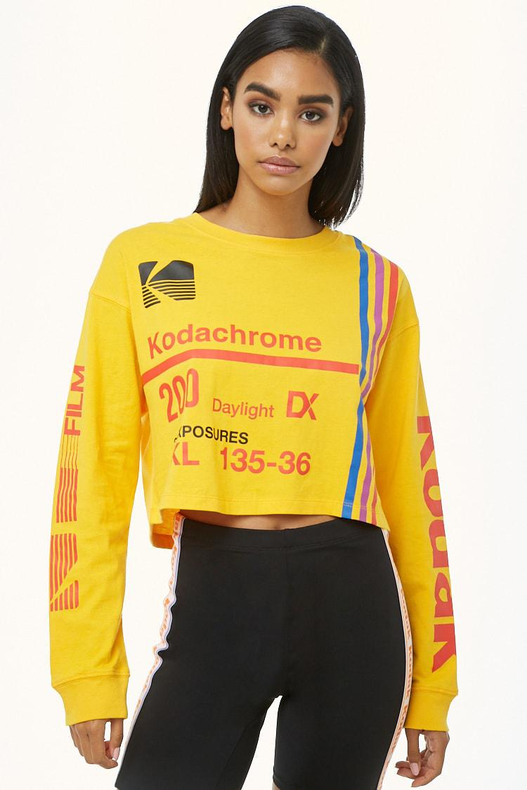 66be3d697 Forever 21 Kodak Logo Cropped Tee in Yellow - Lyst