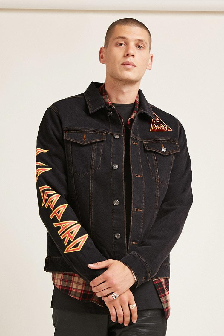 4828147e91 Forever 21  s Def Leppard Denim Jacket in Black for Men - Lyst
