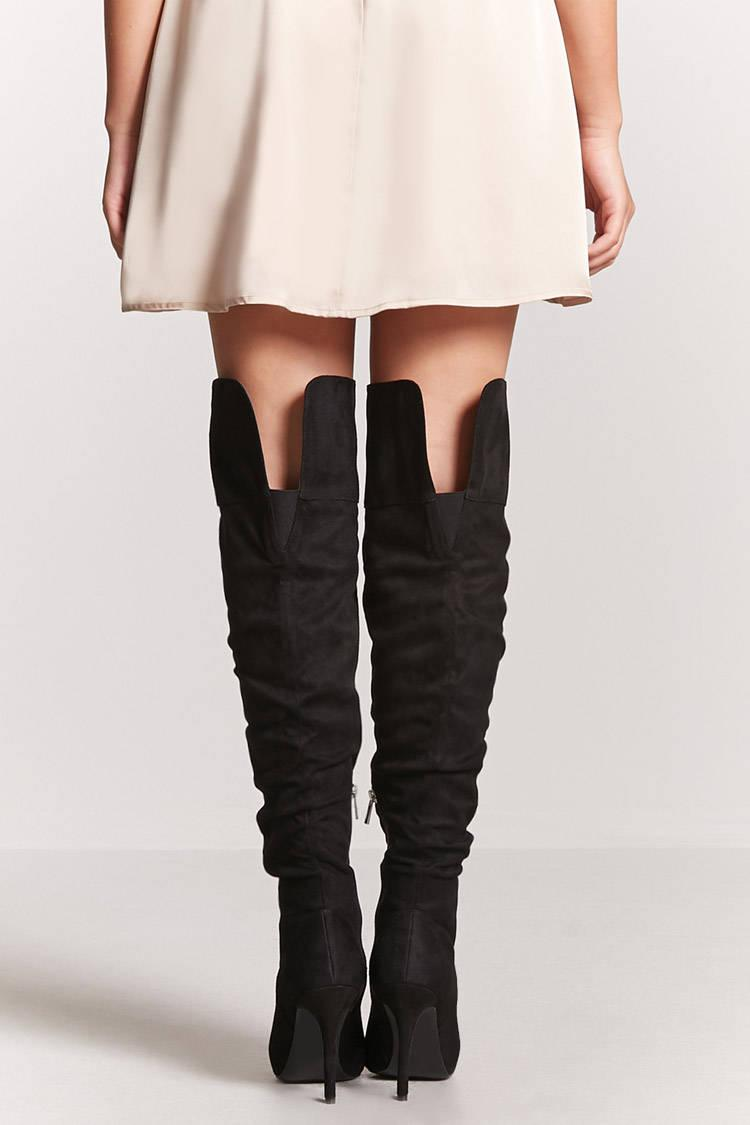 1ea952e4d360 Forever 21 Ruched Faux Suede Thigh-high Boots in Black - Lyst