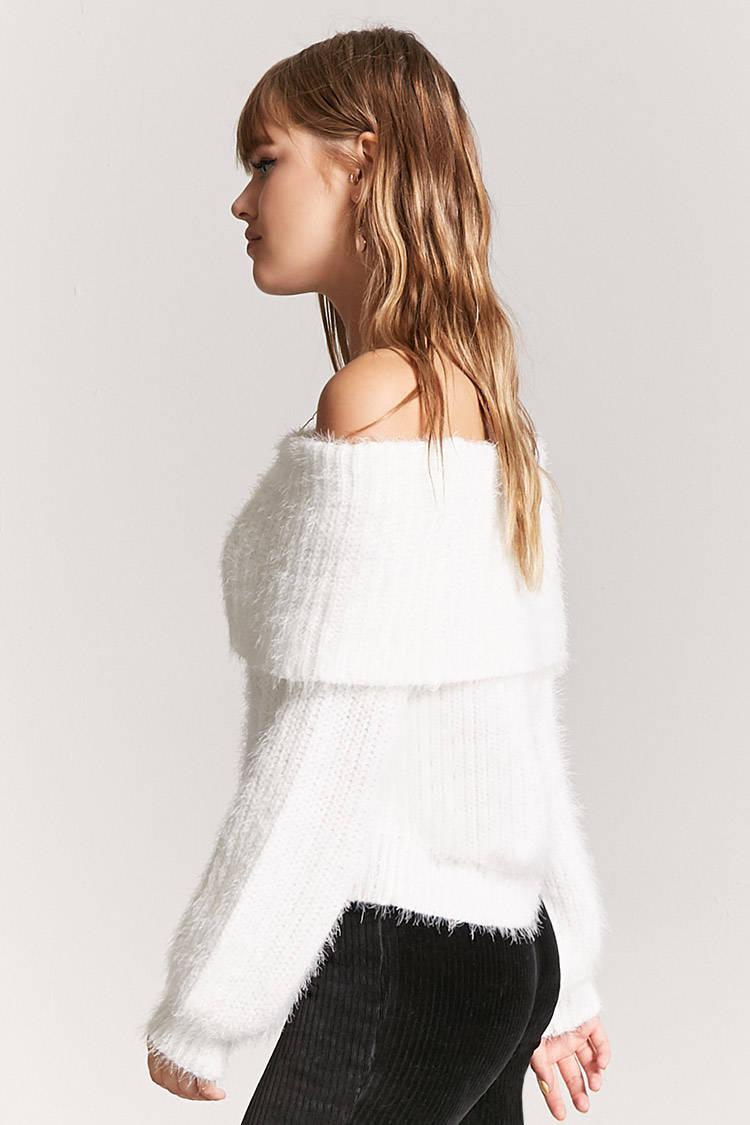 Lyst Forever 21 Off The Shoulder Fuzzy Jumper In White