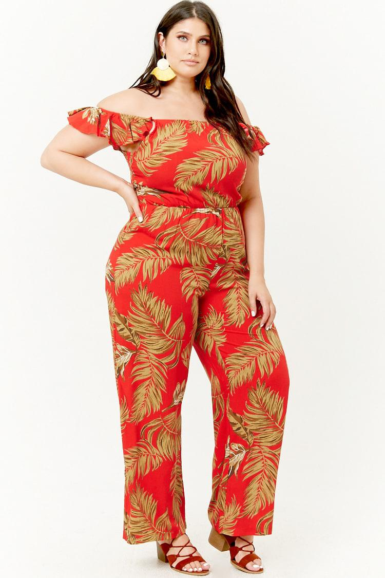 1edf619e7a028 Forever 21 Women s Plus Size Off-the-shoulder Foliage Jumpsuit in ...