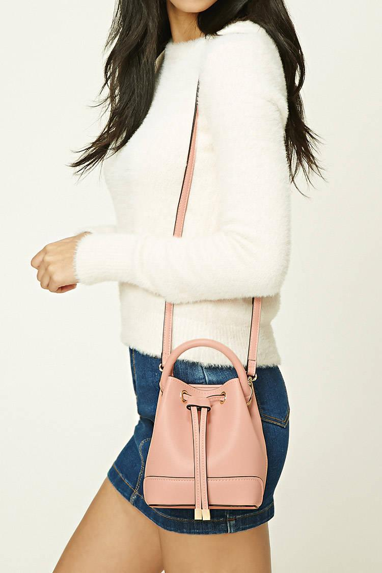 Lyst - Forever 21 Faux Leather Mini Bucket Bag in Pink