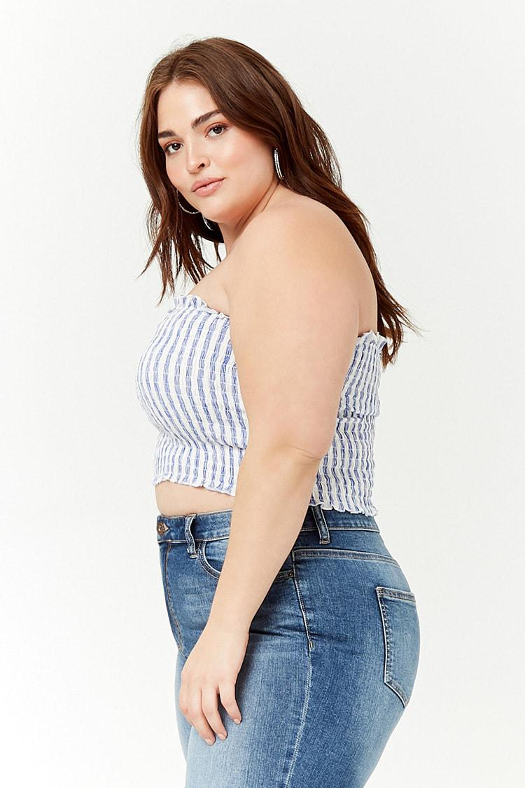 14fcca08439 Forever 21 - Blue Plus Size Striped Tube Top - Lyst. View fullscreen