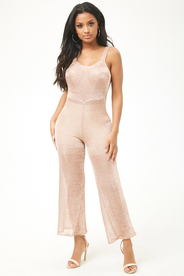 ef96d4ab36a0 Forever 21 Sheer Metallic Jumpsuit in Pink - Lyst