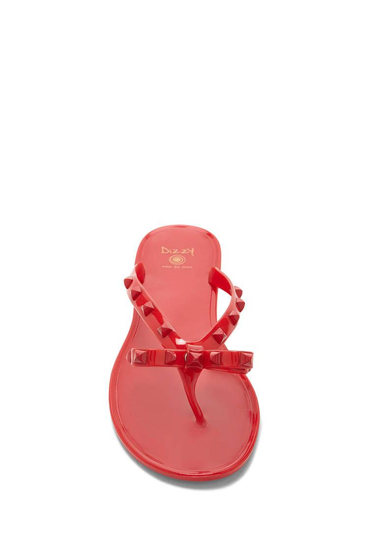 3d00c5ebf95369 Lyst - Forever 21 Dizzy Studded Bow Jelly Sandals in Red
