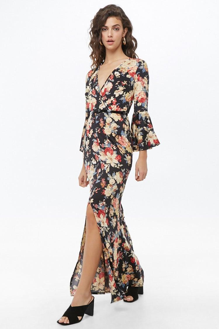 01eca58a803e Lyst - Forever 21 Floral Belted Surplice Mermaid Dress in Black