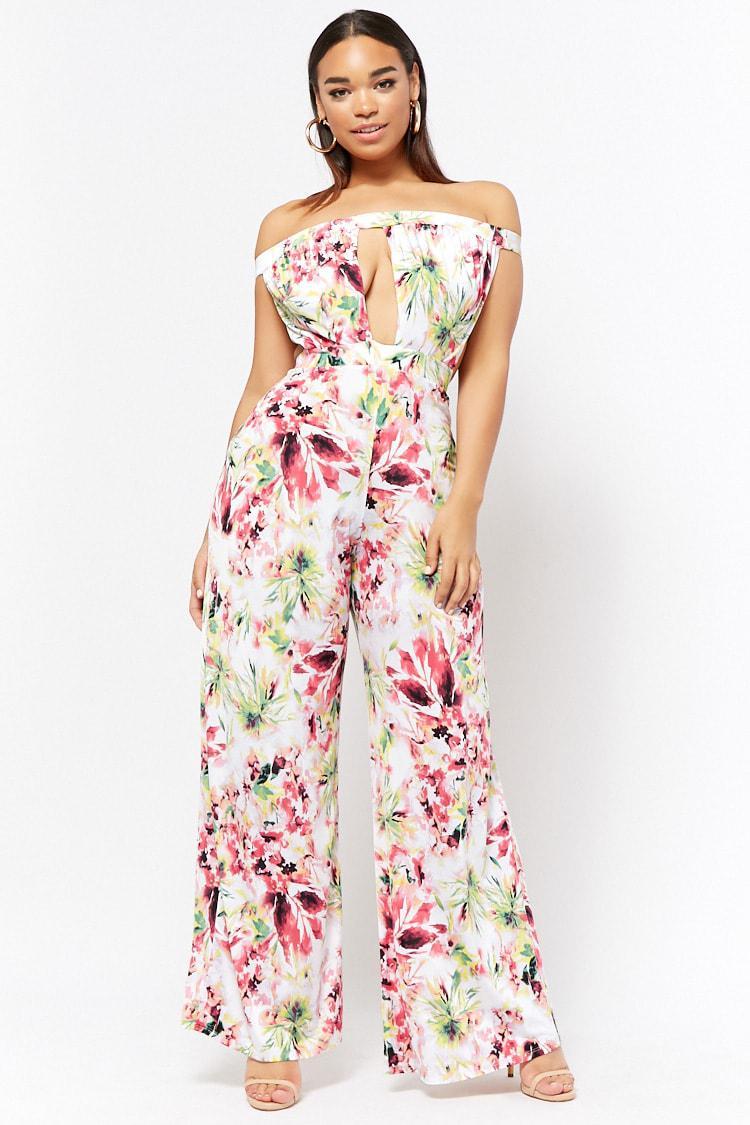 3bbc7fa65f3 Forever 21. Women s Plus Size Cutout Floral Jumpsuit