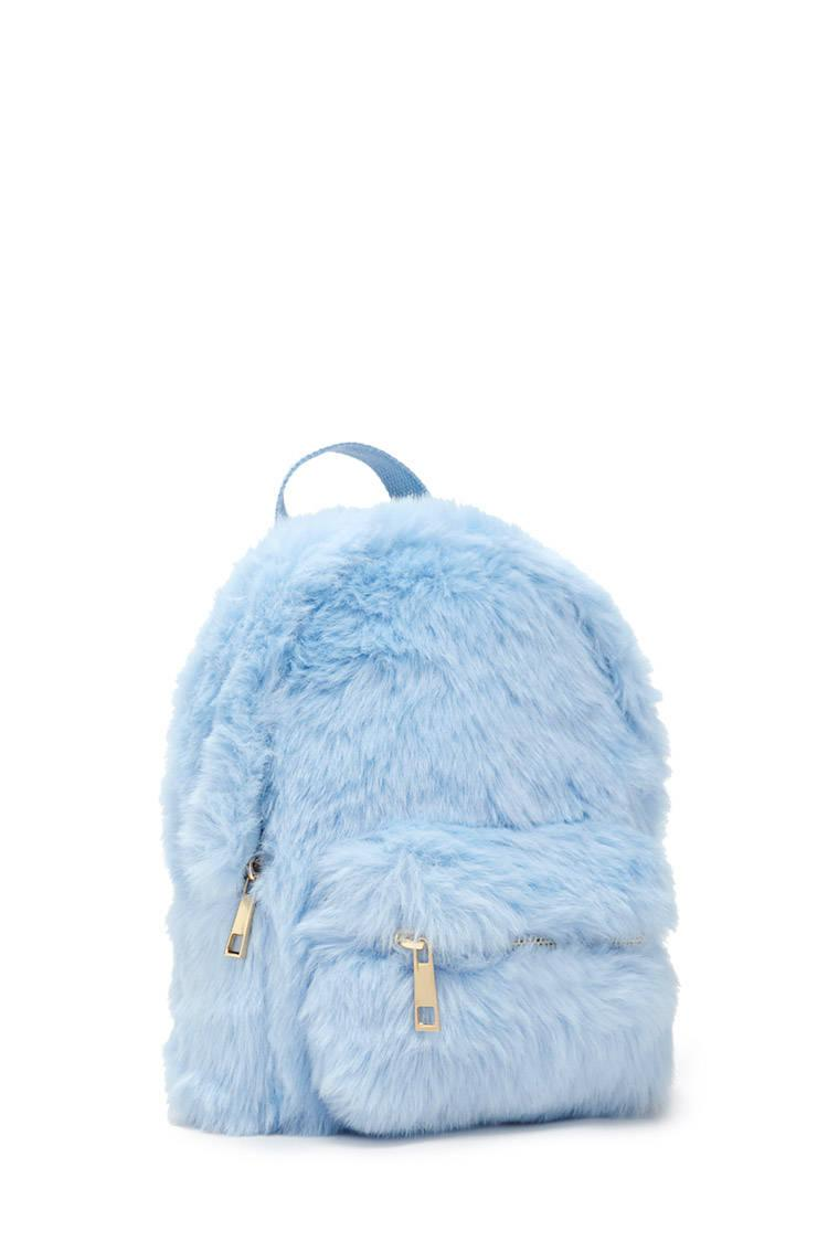 89122b8e86 Lyst - Forever 21 Faux Fur Mini Backpack in Blue