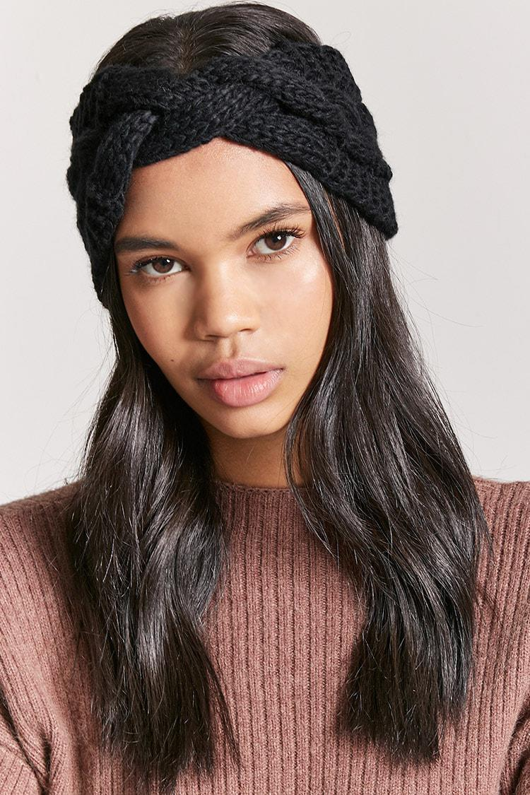 Lyst - Forever 21 Cable Knit Twist-front Headwrap in Black 07cc9e5cce8