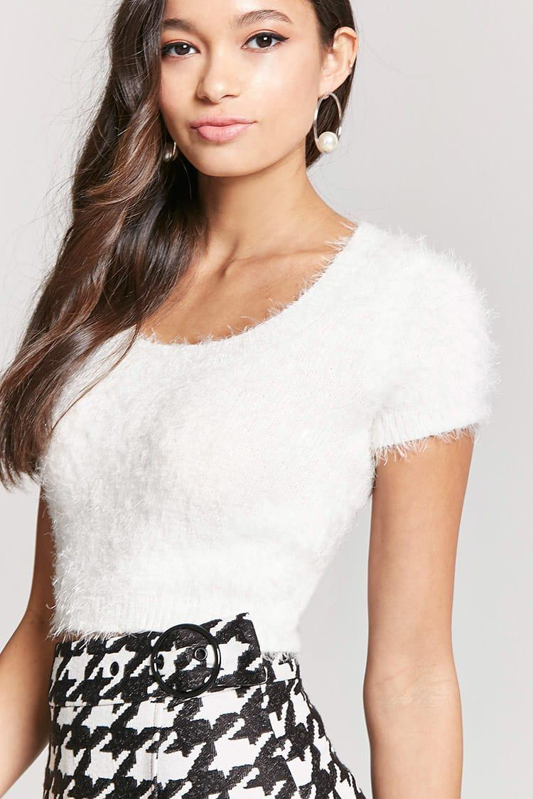 4f07979ce02 Forever 21 Fuzzy Knit Cropped Top in White - Lyst
