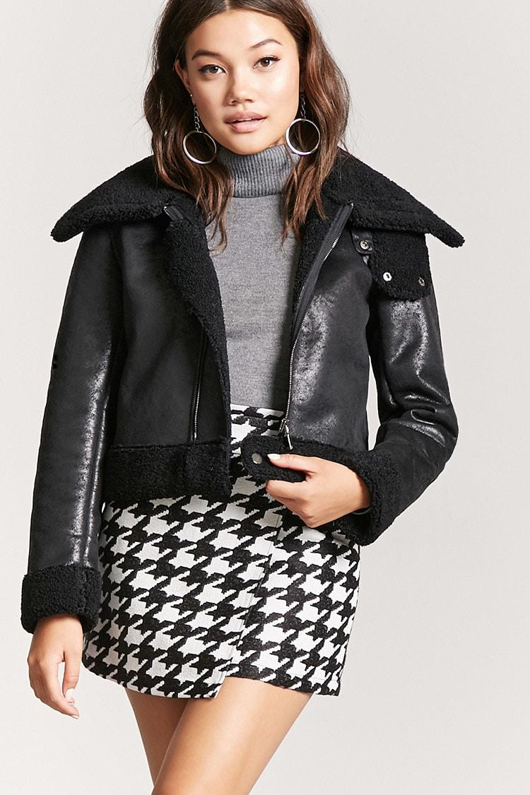 0a605d406c3 Forever 21 Faux Nubuck Leather Pilot Jacket in Black - Lyst