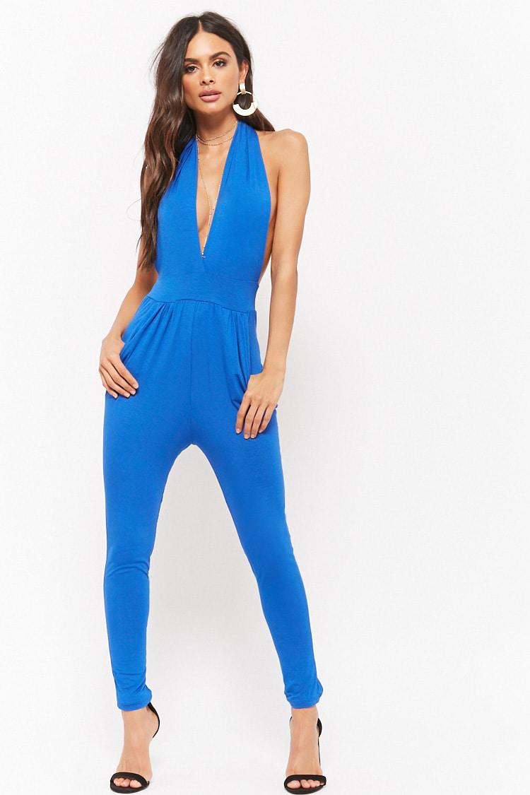 1534c48aad50 Lyst - Forever 21 Plunging Halter Jumpsuit in Blue
