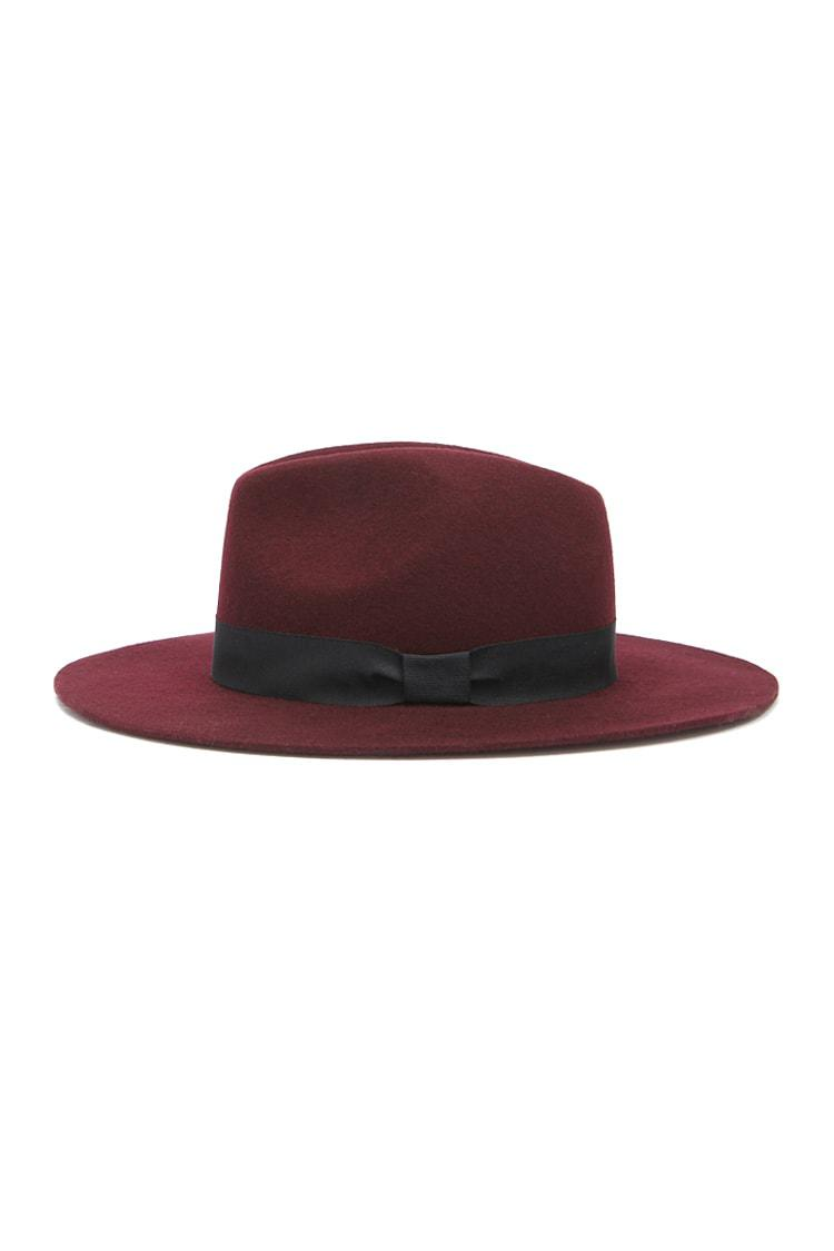 16b05e08561 Lyst - Forever 21 Wide-brim Wool Fedora in Red