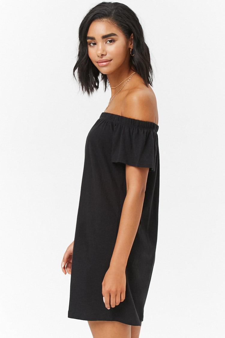 Lyst Forever 21 Off The Shoulder T Shirt Dress In Black