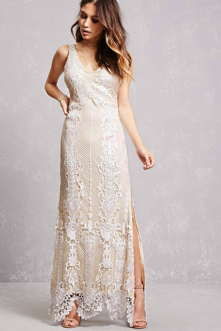 ae6d680c0803 Forever 21 Soieblu Crochet Overlay Gown in White - Lyst