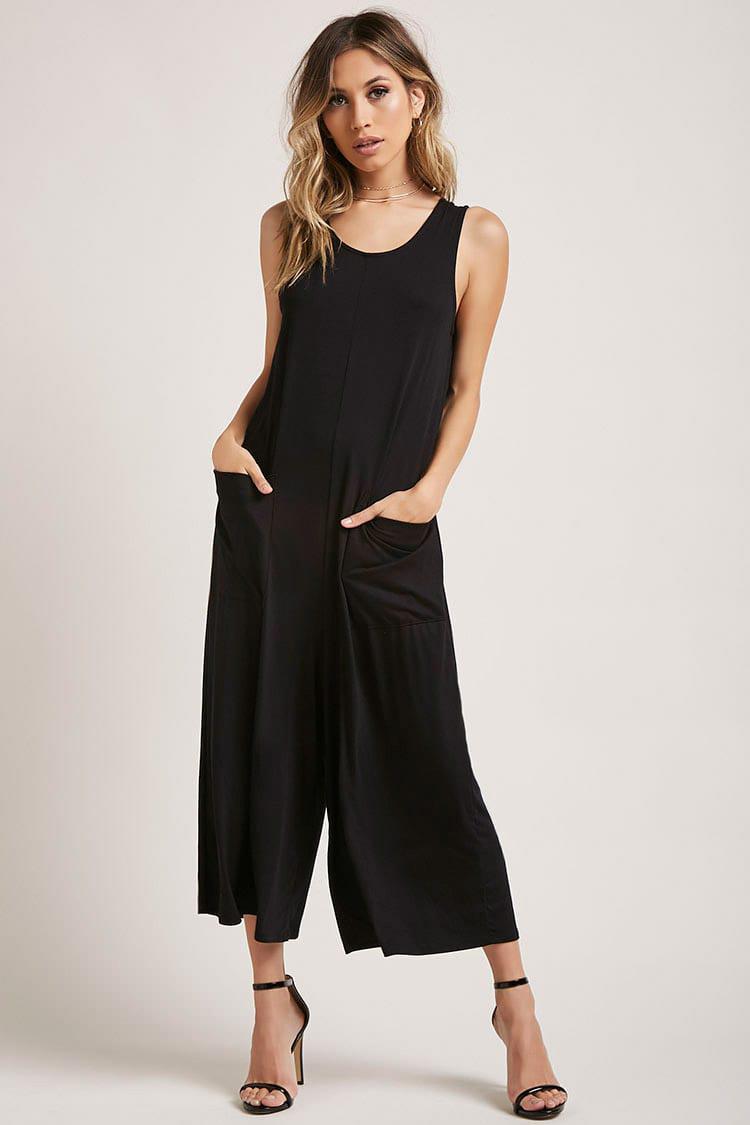 75dbbd25d5b5 Lyst - Forever 21 Patch-pocket Culotte Jumpsuit in Black