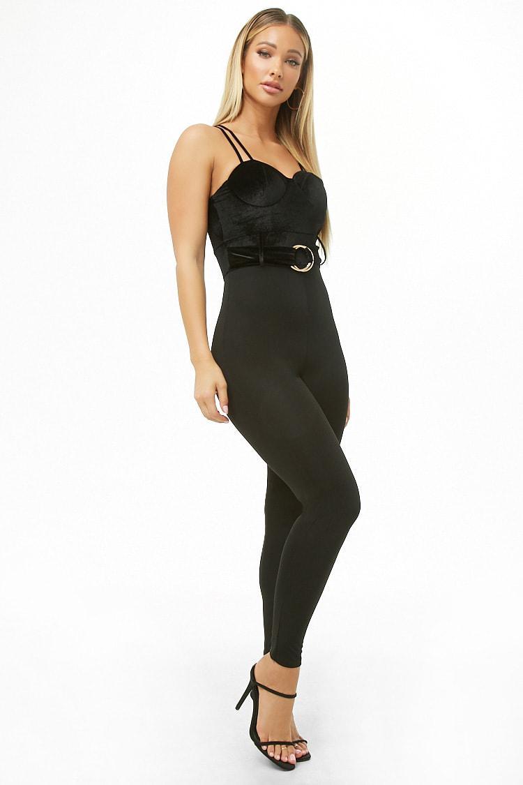4df47fd25b40 Lyst - Forever 21 Velvet Bustier Combo Cami Jumpsuit in Black