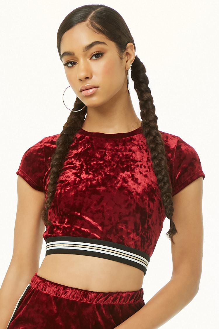 586115323338f1 Lyst - Forever 21 Velvet Striped-trim Crop Tee in Red