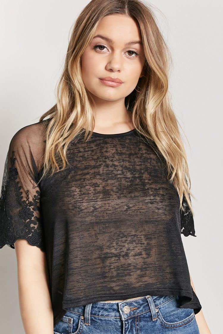 232212e6874655 Forever 21 Sheer Heathered Crochet Lace High-low Top in Black - Lyst