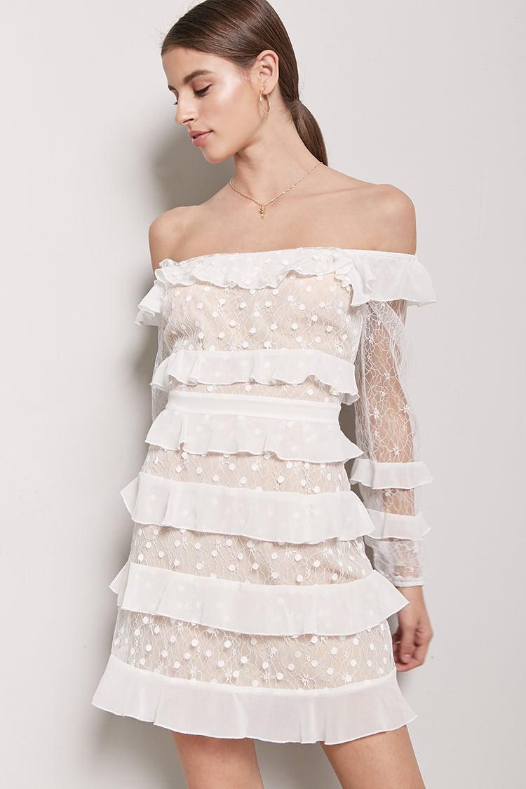 Forever 21 White Ruffle Dress