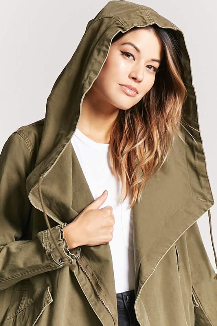 a77371233a4 Lyst - Forever 21 Plus Size Hooded Utility Jacket in Green