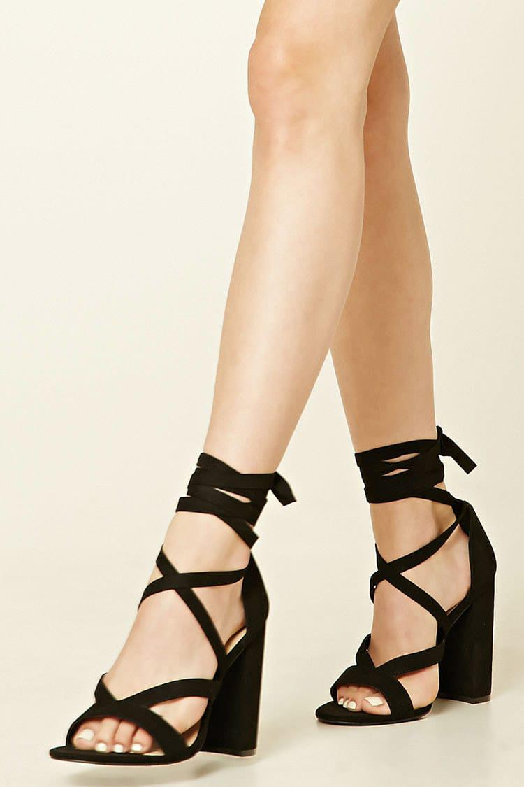 607ccf9b7e5 Lyst - Forever 21 Strappy Faux Suede Heels in Black
