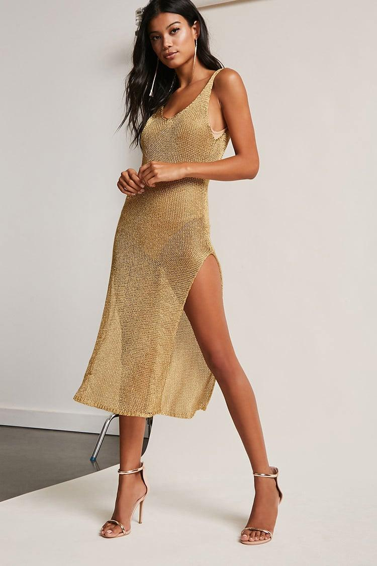 40d3b08c01 Forever 21 High-slit Chainmail Dress in Metallic - Lyst