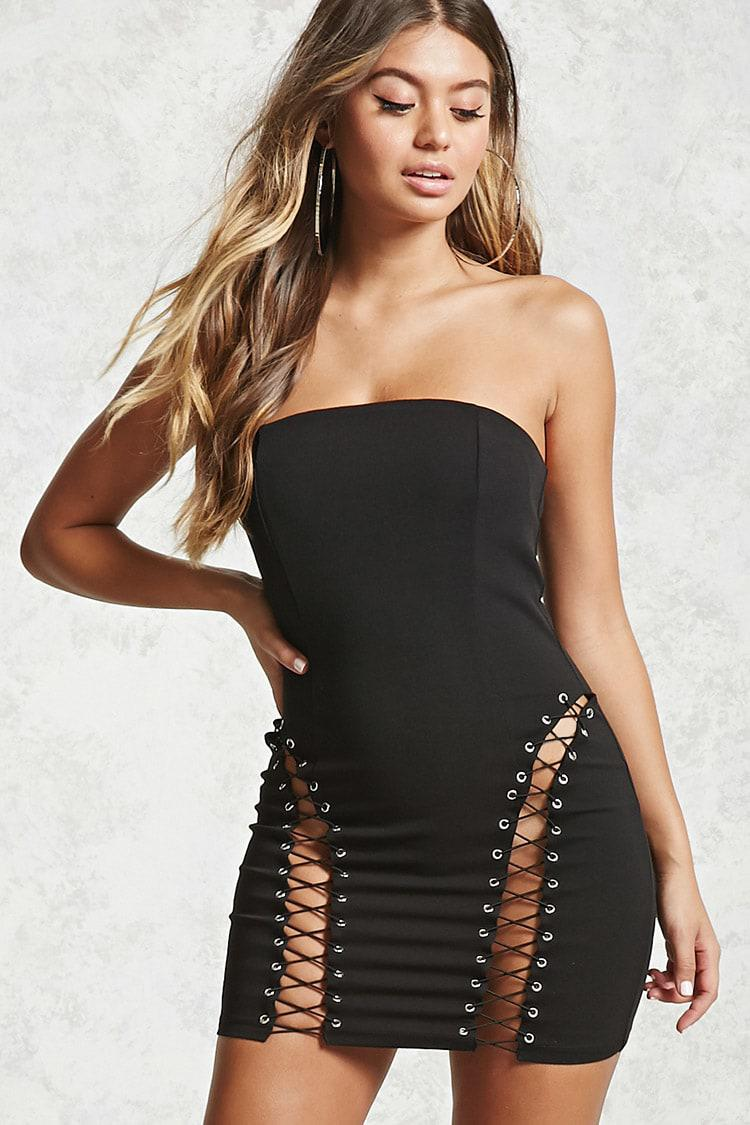 b282f99ddf Lyst - Forever 21 Lace-up Tube Dress in Black