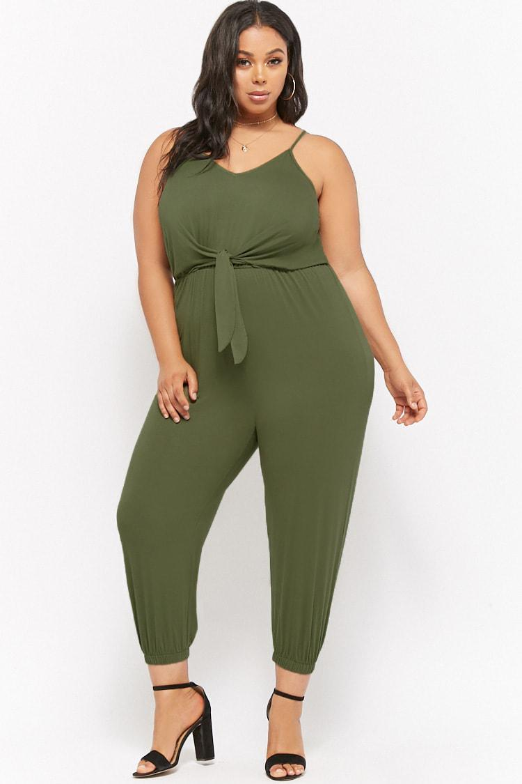 10cf557b1 Forever 21 Women's Plus Size Tie-front Jumpsuit in Green - Lyst