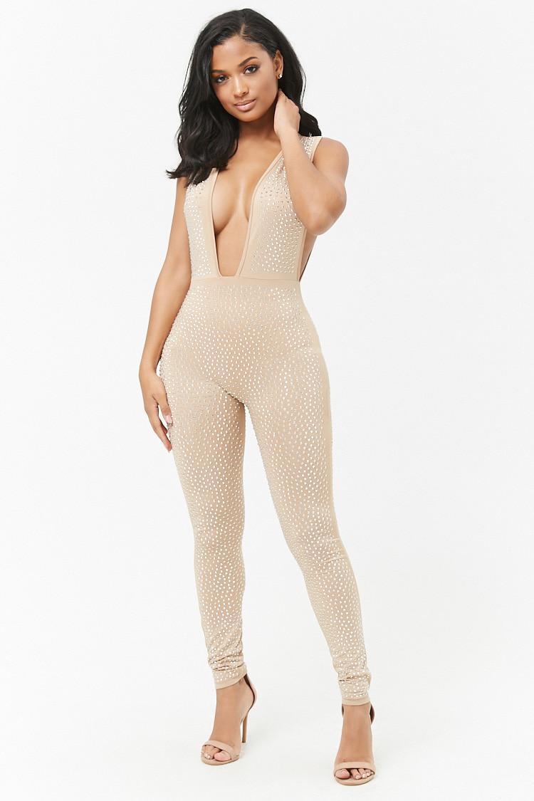 Livraison Gratuite Pas Cher Prix Incroyable Pas Cher Forever 21 Plunging Studded Jumpsuit Sites À Vendre Fourniture Sortie Browse Vente Pas Cher pOhHuI3Wx
