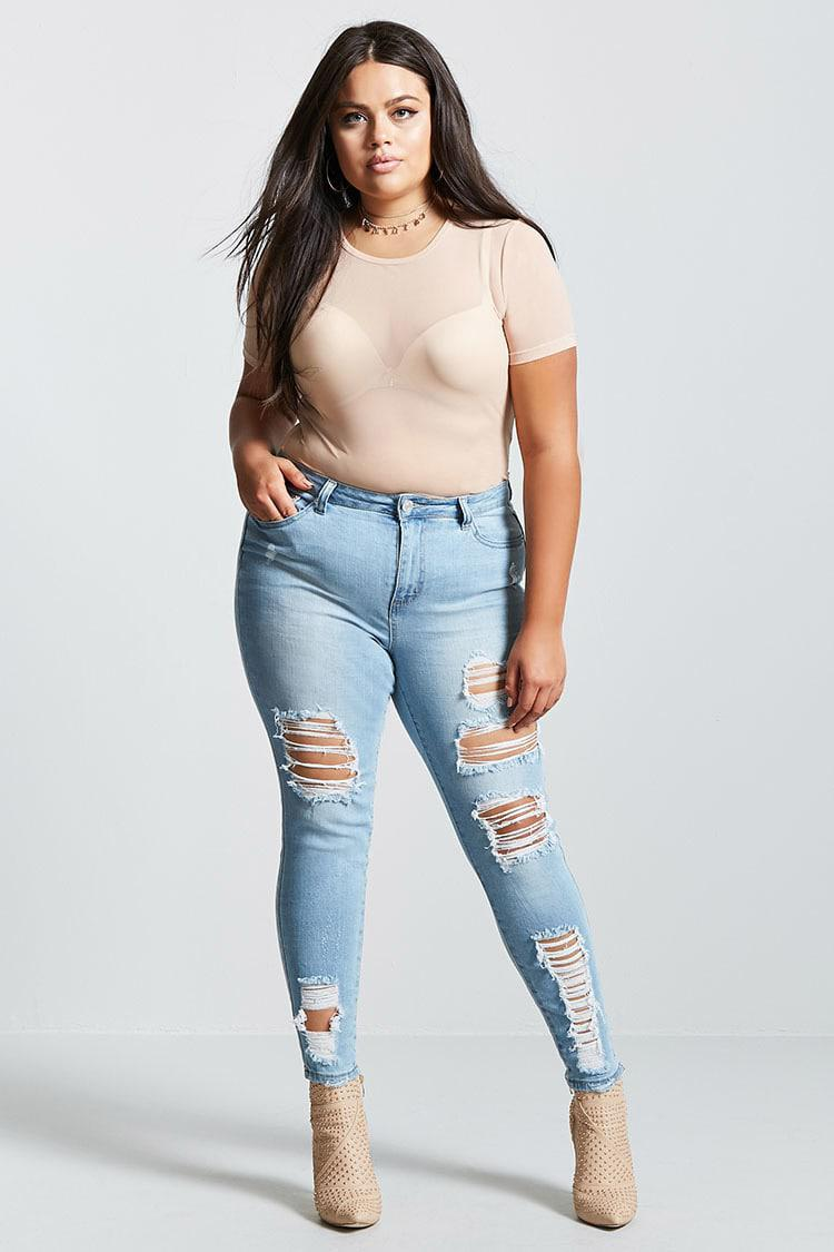 cbc206dc066 Forever 21 Plus Size Distressed Jeans in Blue - Lyst