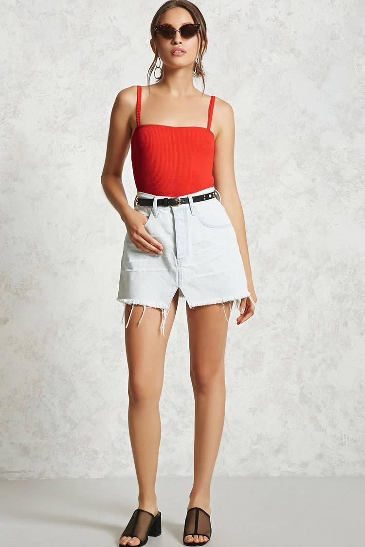 ce202f21d1 Lyst - Forever 21 Ribbed Knit Cami Bodysuit in Red
