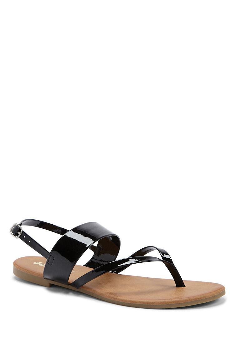 01a715c6b Lyst - Forever 21 Yoki Shoes Faux Patent Leather Thong Sandals in Black