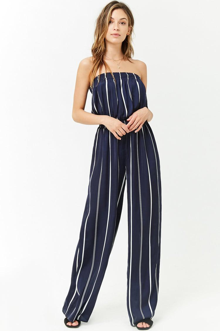 546a894ea3d Lyst - Forever 21 Satin Striped Strapless Jumpsuit in Blue