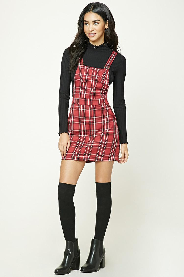 f8ae9856faa Lyst - Forever 21 Plaid Overall Dress