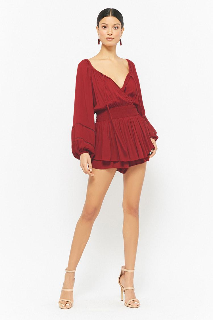 af71b395b0 Forever 21 Gauzy Layered Romper in Red - Lyst