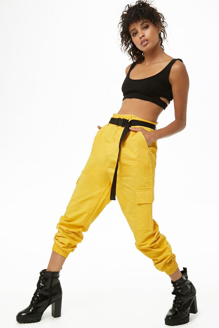 best sneakers retail prices more photos Forever 21 Cotton Belted Cargo Pants in Yellow - Lyst