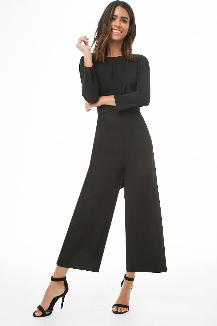 18bd281bd33 Lyst - Forever 21 Long Sleeve Tie-front Ankle Jumpsuit in Black