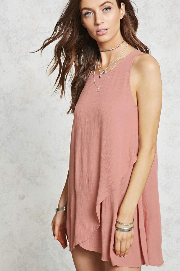 Light pink satin mini dress