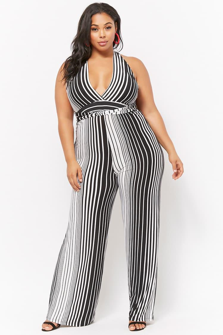 Forever 21 Womens Plus Size Striped Wide Leg Jumpsuit In Black Lyst