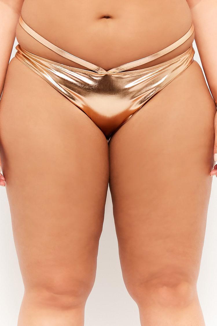 1957273a65 Forever 21 - Women's Plus Size Metallic Strappy String Bikini Bottoms -  Lyst. View fullscreen