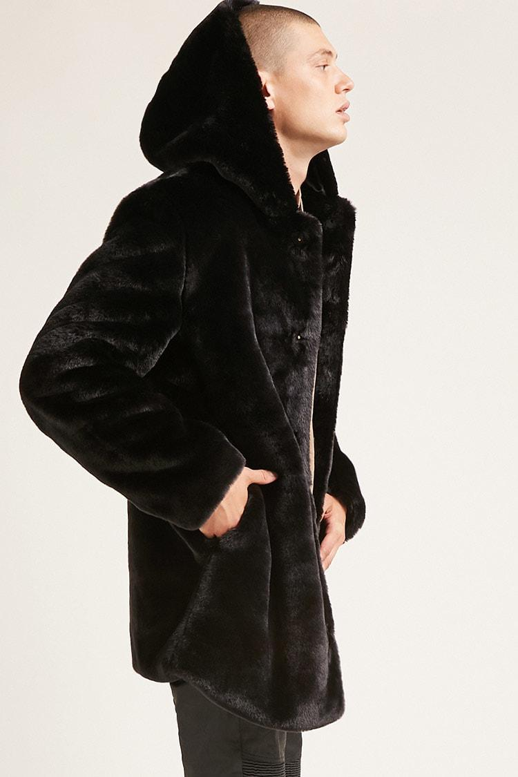 a9b9ce552aa5 Lyst - Forever 21 Hooded Faux Fur Coat in Black for Men