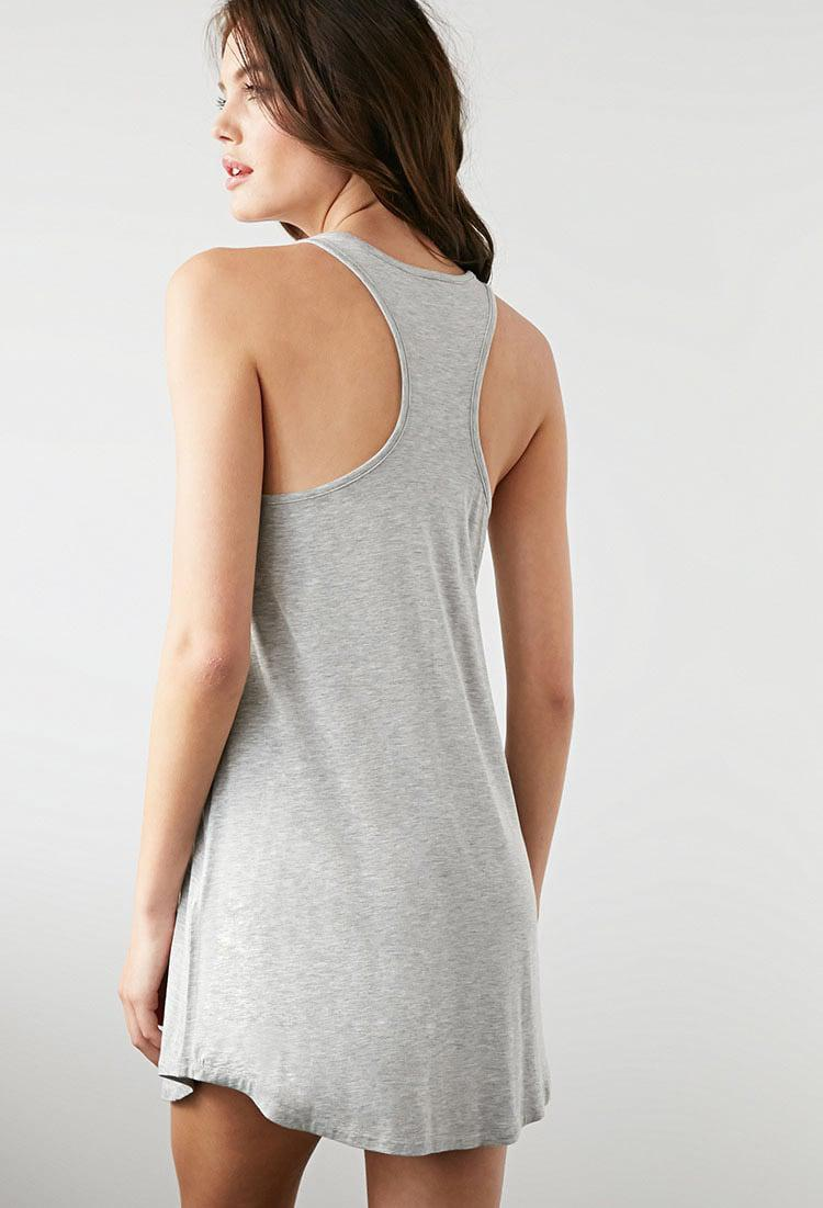 01ad2f5c Forever 21 Taking Naps Racerback Nightdress in Gray - Lyst