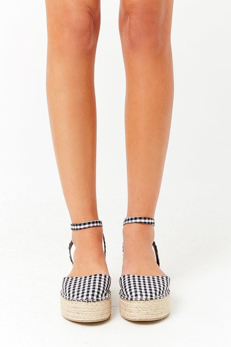 9ddd16978a5 Lyst - Forever 21 Gingham Espadrille Flatform Sandals in Black