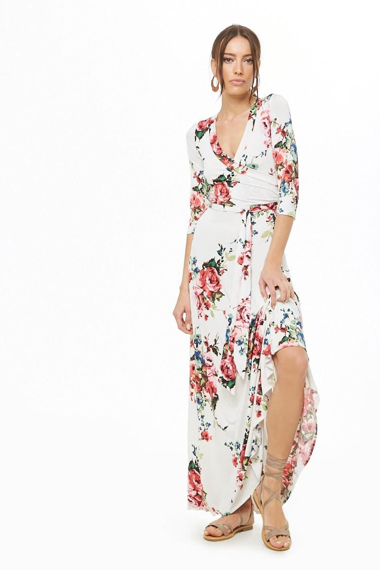 ef2b98cc2599 Lyst - Forever 21 Floral Print Maxi Dress in White